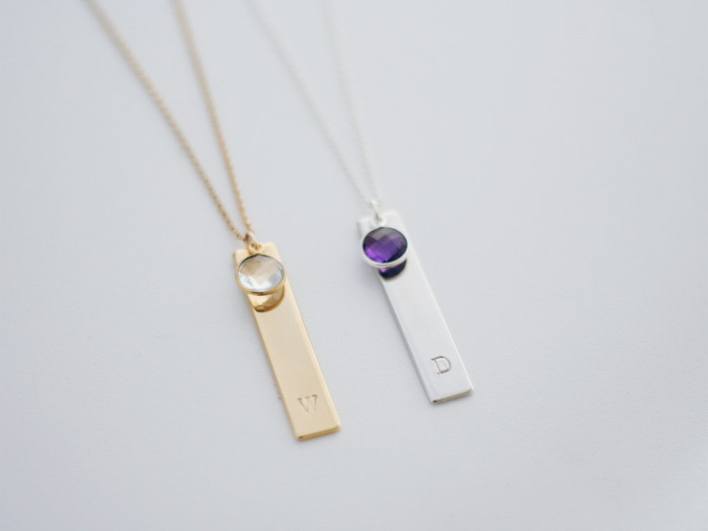 birthstone and initial bar necklace